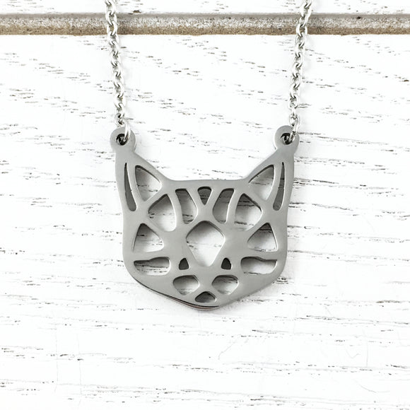 Necklace | Origami Pattern Cat Face