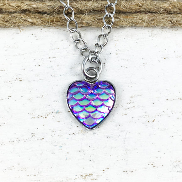 Necklace | Purple Mermaid Scales Heart