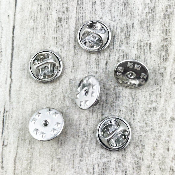 Spare Pin Backings | Metal, silver colour | Pack of 6
