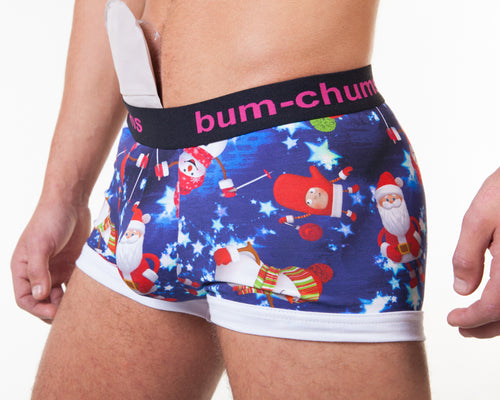 Christmas Blue Hipster - Bum-Chums Gay Men's Underwear - Made in UK