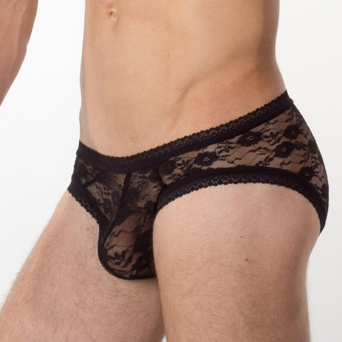 Men's Lace Underwear - Black Lace Brief Main