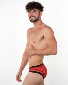 Men's Red Lace Brief - Bum-Chums Gay Men's Underwear - Made in UK