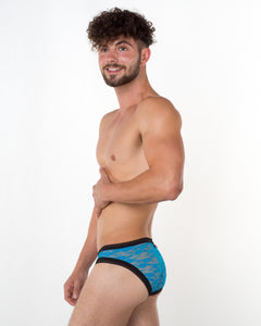 Men's Turqoise Lace Brief - Bum-Chums Gay Men's Underwear - Made in UK