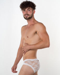 Men's White Lace Brief - Bum-Chums Gay Men's Underwear - Made in UK