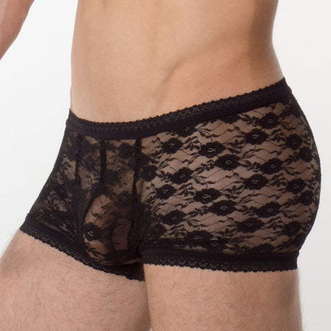 Men's Black Lace Underwear - Hipster - Main