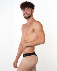 Men's Black Lace Thong - Bum-Chums Gay Men's Underwear - Made in UK