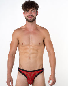 Men's Red Lace Thong - Bum-Chums Gay Men's Underwear - Made in UK