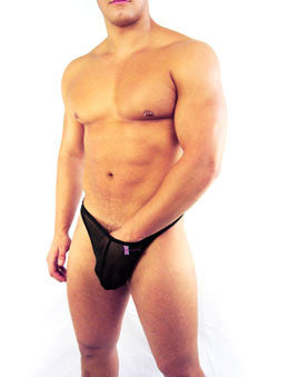 Bum-Chums – Sneak Peek Black Lycra Mesh Men's Underwear - See Through Men's Thong