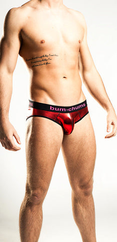 Mens Red Metallic Foil Underwear Brief