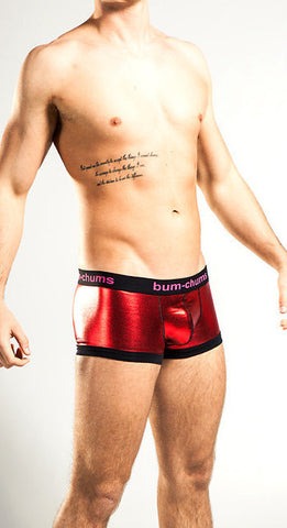 Mens Red Foil Metallic Underwear Hipster Trunk Boxer
