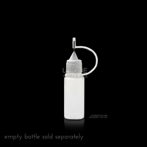 Unique eCigs Metal Syringe Tip/Cap 3x Empty Plastic Bottle Sold Separately