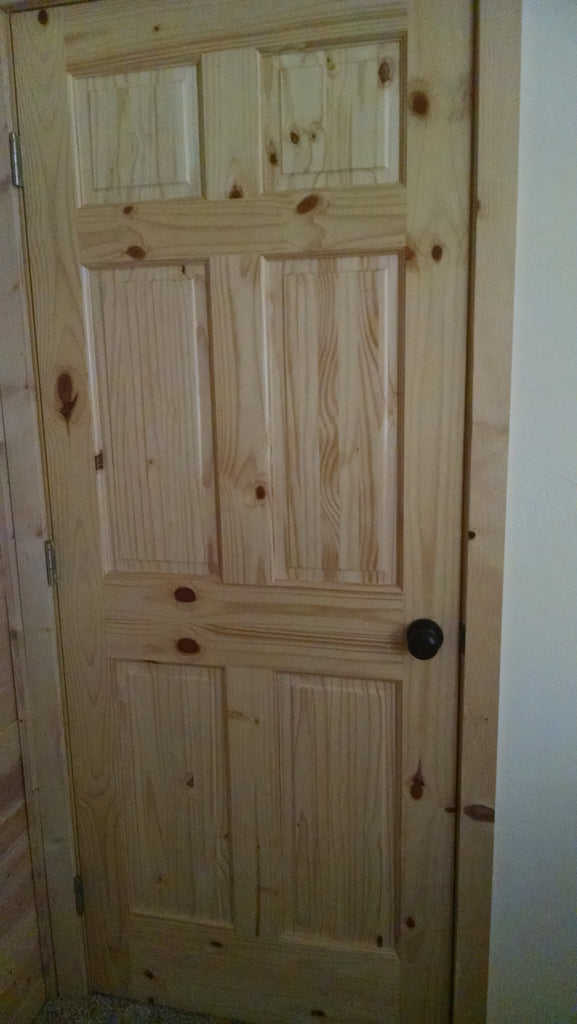 Customer Photos: Knotty Pine Doors for a California Log Cabin