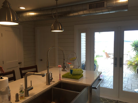 kitchen with shiplap and shaker doors