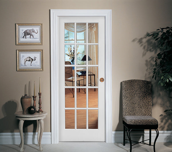 15 lite french door primed door to door for 15 lite french door