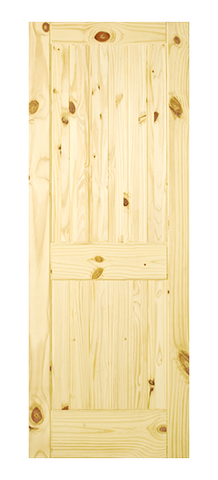 2 Panel Square Top V-Groove Knotty Pine Door