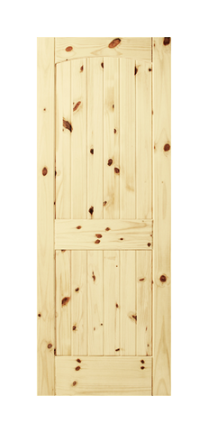 2 Panel Arch Top V-Groove Knotty Pine Door