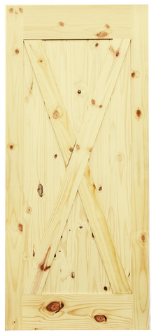 X-Brace V-Groove Knotty Pine Barn Door