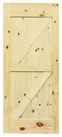 Double Z-Brace V-Groove Knotty Pine Barn Door
