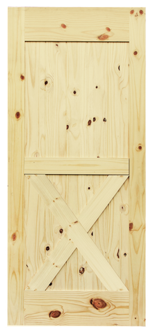 Half X-Brace Knotty Pine Barn Door