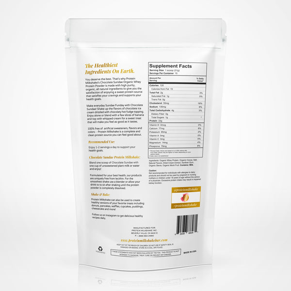 Now Shipping: NEW: Organic Protein Milkshake Chocolate Sundae Protein Powder 100% Premium Grass Fed Whey Protein