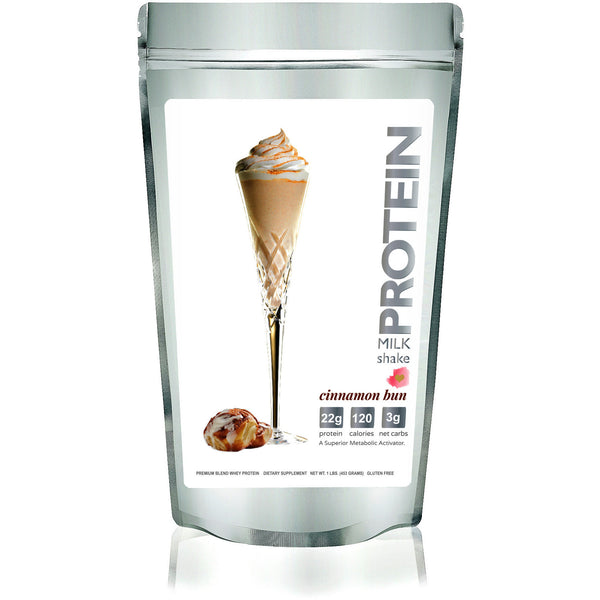 PRE-ORDER SHIPS WEEK OF SEPT 1: Protein Milkshake Cinnamon Bun Low Carb Premium Whey Protein Powder - Protein Powder For Weight Loss