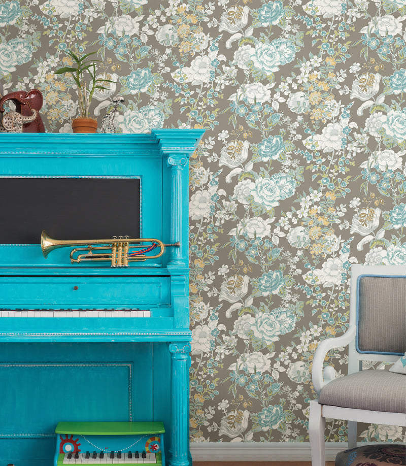 blue grey white contemporary floral wallpaper SZ001849