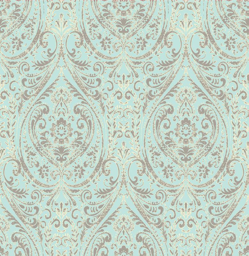 contemporary turquoise damask 1014-001866