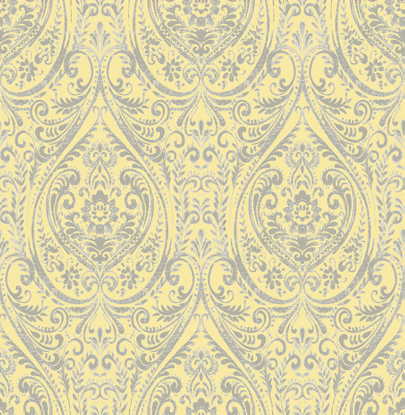 Yellow Grey Contemporary Modern Vintage Damask SZ001868