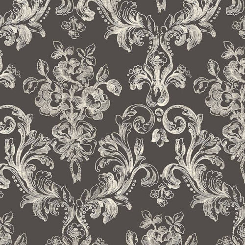 Victorian damask black white wallpaper GC29827