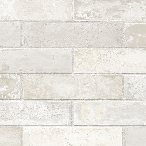 faux white gray brick wallpaper LL29532