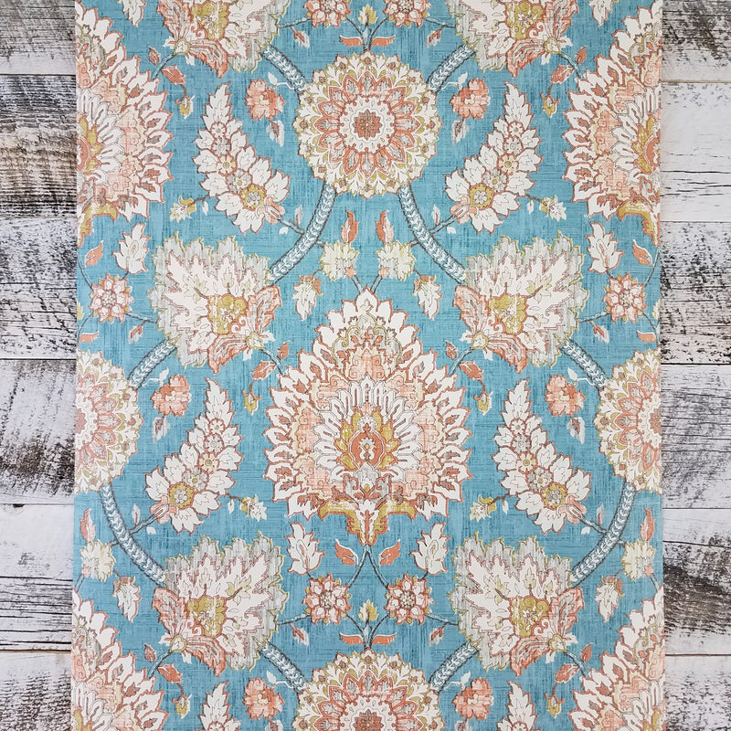Waverly Classics Clifton Hall Vintage Blue Damask Wallpaper