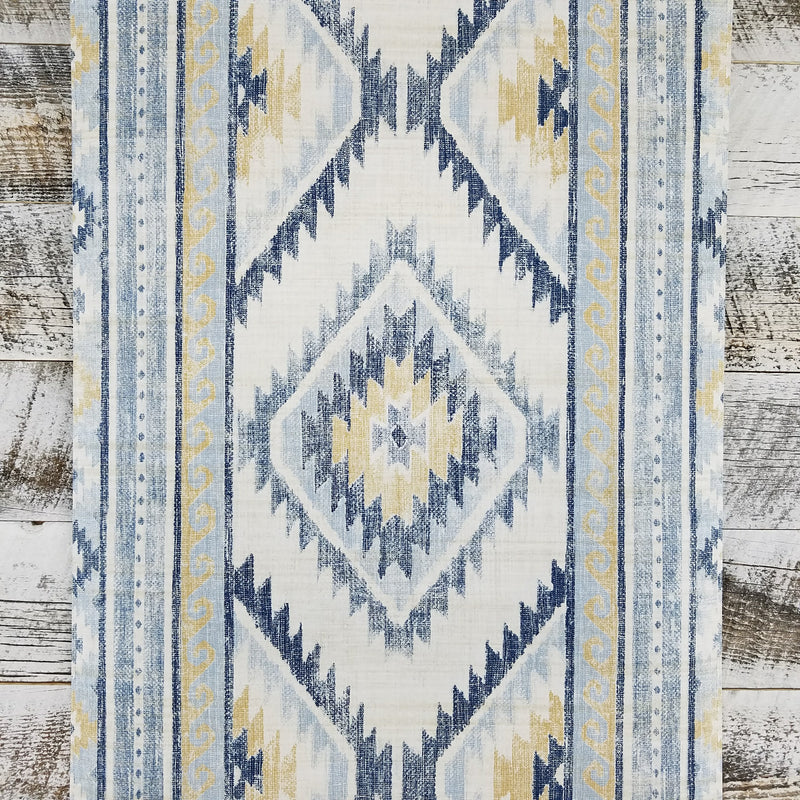 Global Style Navajo Boho Aztec Mud Cloth Blue Wallpaper
