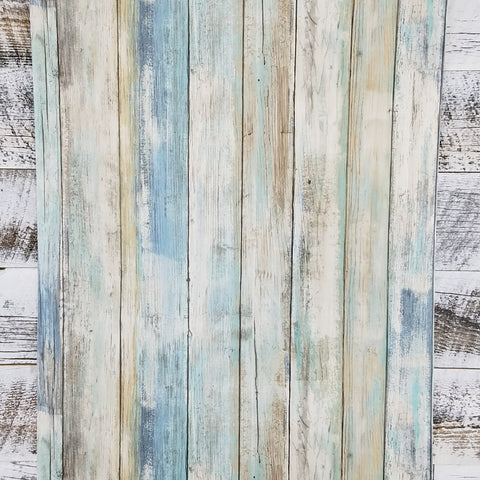 Blue Distressed Barnwood Plank Wood Peel and Stick Wallpaper | RMK9052WP