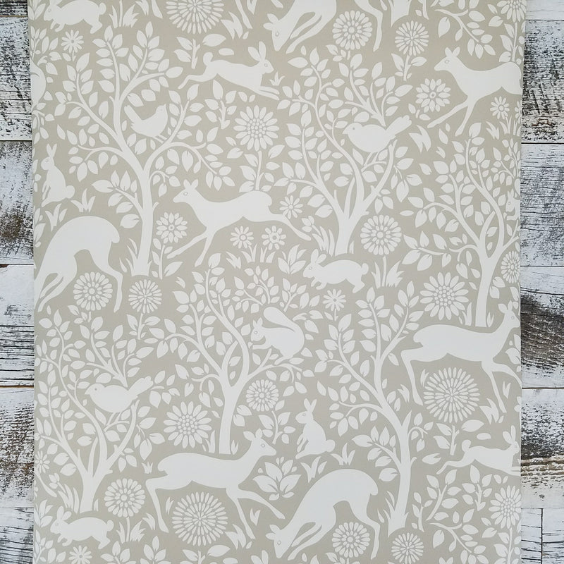 Brewster Anahi Neutral Tan Woodland Fauna Animal Wallpaper