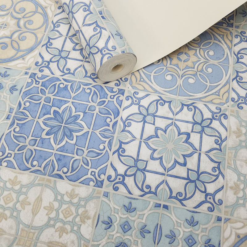 Pretty Mosaic Tiles in Blue Wallpaper