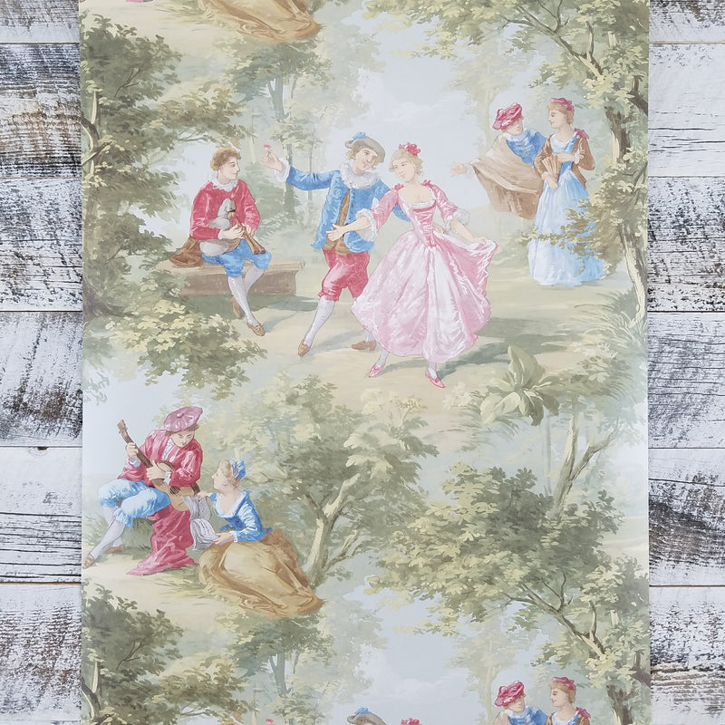 Victorian Lovers Toile Wallpaper