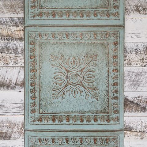 Ornamental Turquoise Rustic Tin Tile Wallpaper FD24032