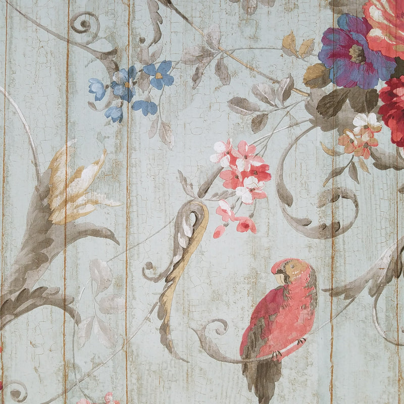 Blue Book Parrots Bird Rose French Cottage Wallpaper
