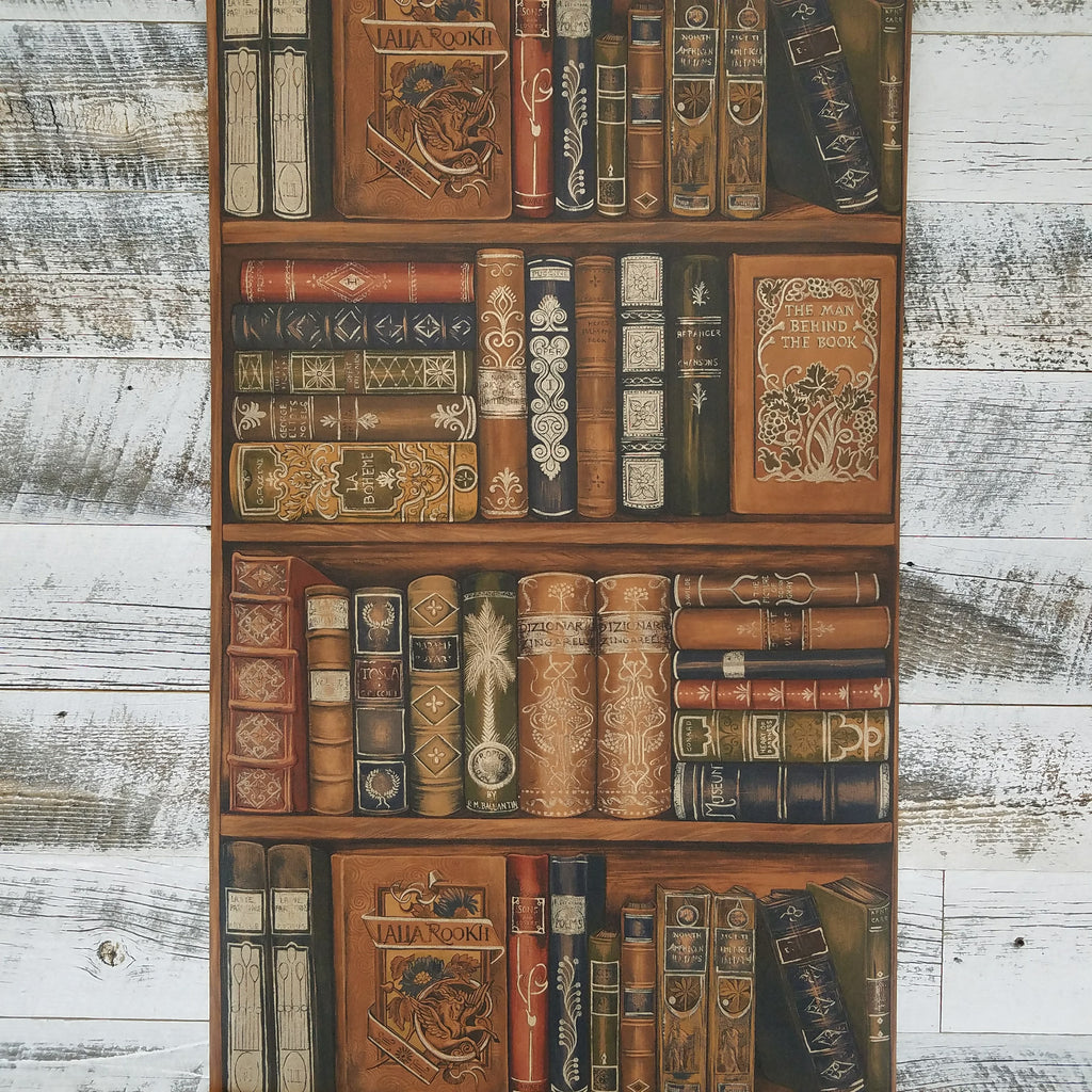Trompe l'oiel Library Book Shelf Wallpaper