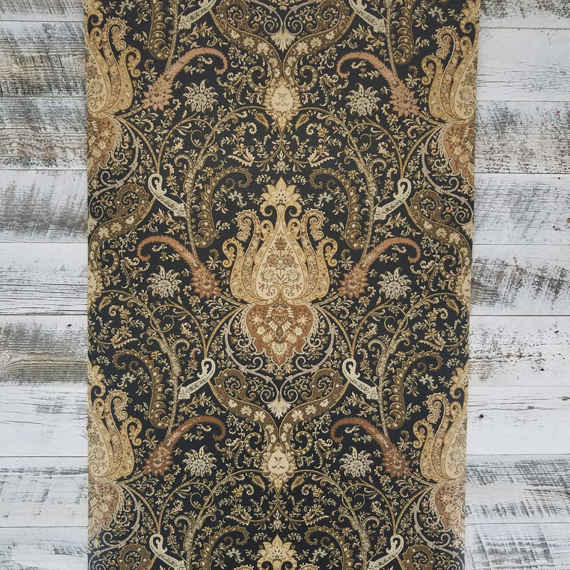 Waverly Byzance Copper and Black Damask Wallpaper