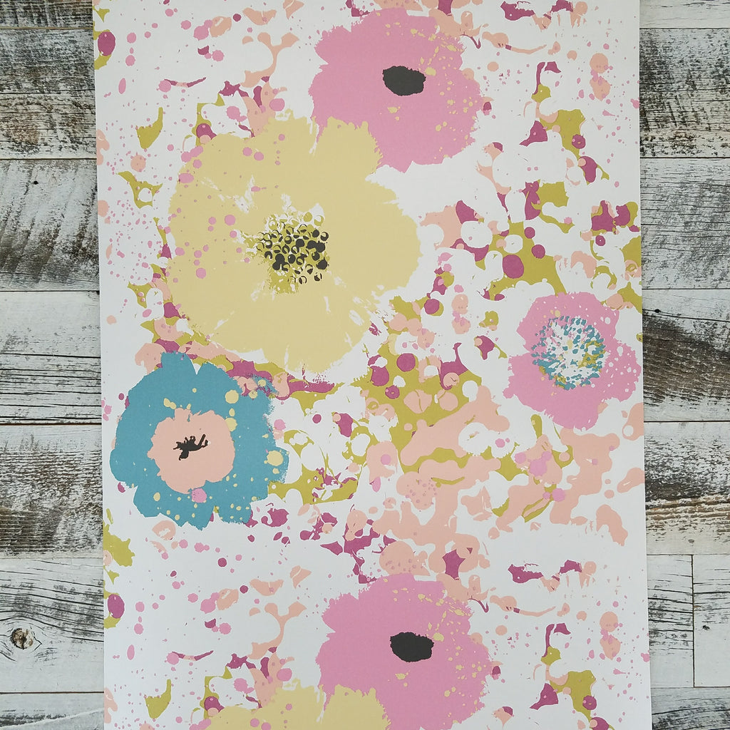 York Spontaneity Pink and Yellow Floral Wallpaper