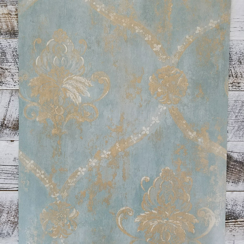 Aqua Blue Gold Weathered Damask Wallpaper