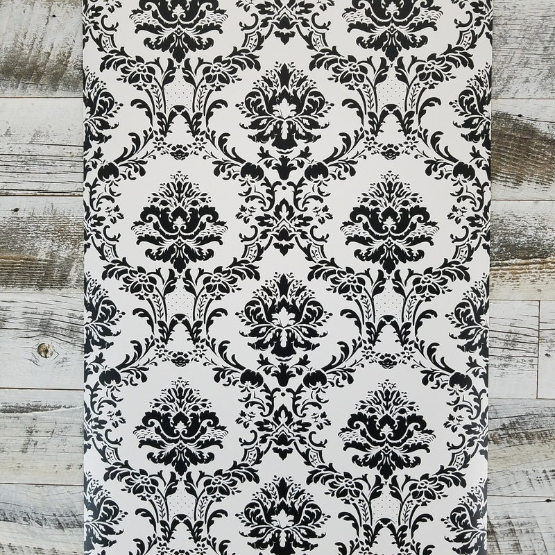 Black and White Victorian Damask Wallpaper
