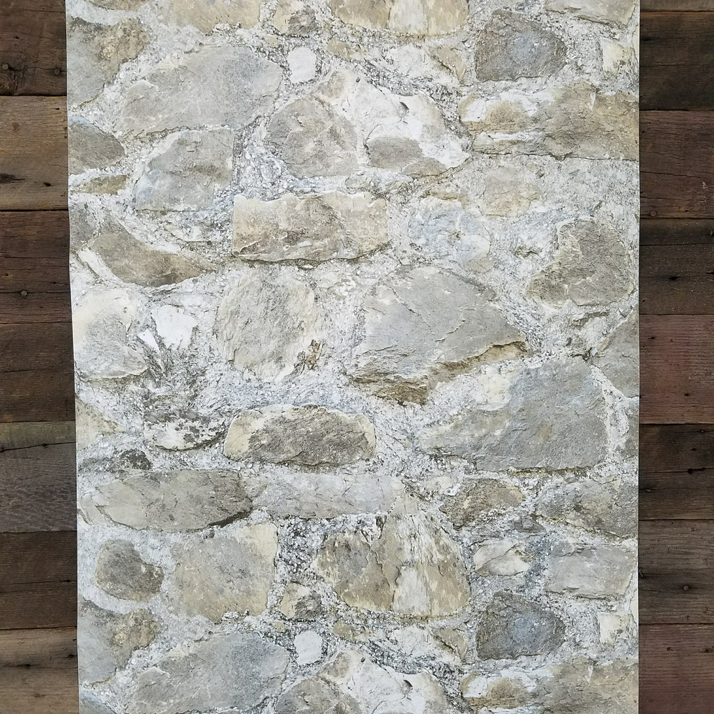 Weathered Gray Rustic Tumbled 3D Stone Peel and Stick Wallpaper