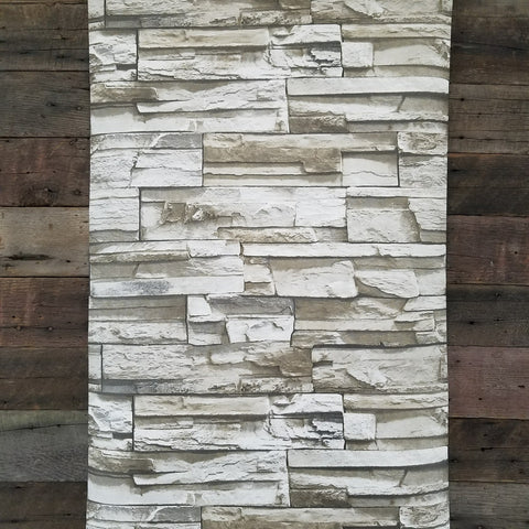 Rustic Lodge Stack Stone Brown 3D Peel and Stick Wallpaper RMK9025WP