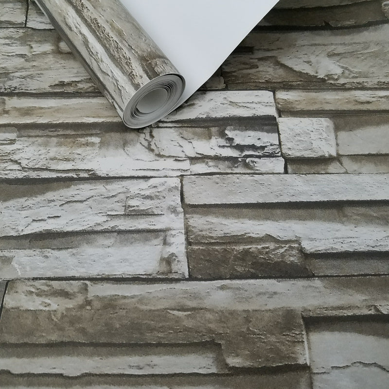 Rustic Lodge Stack Stone Brown 3D Peel and Stick Wallpaper