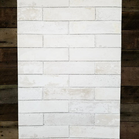 Pale Gray Brick Wall Faux Wallpaper LL29532