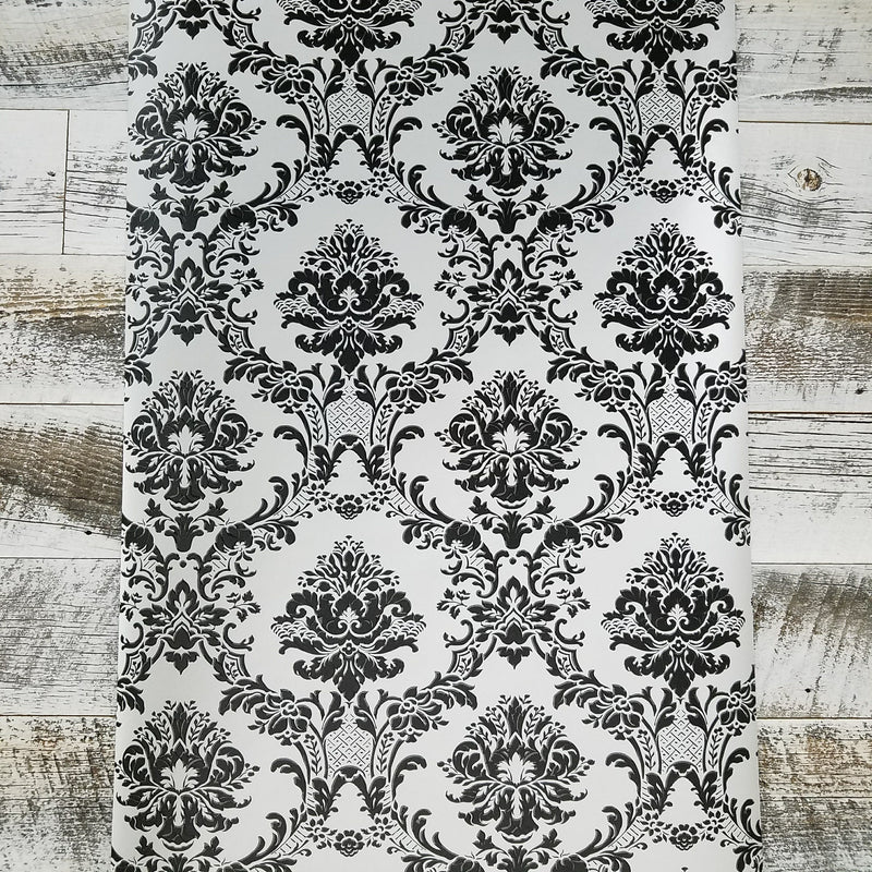 Modern Damask Black on Silver Wallpaper