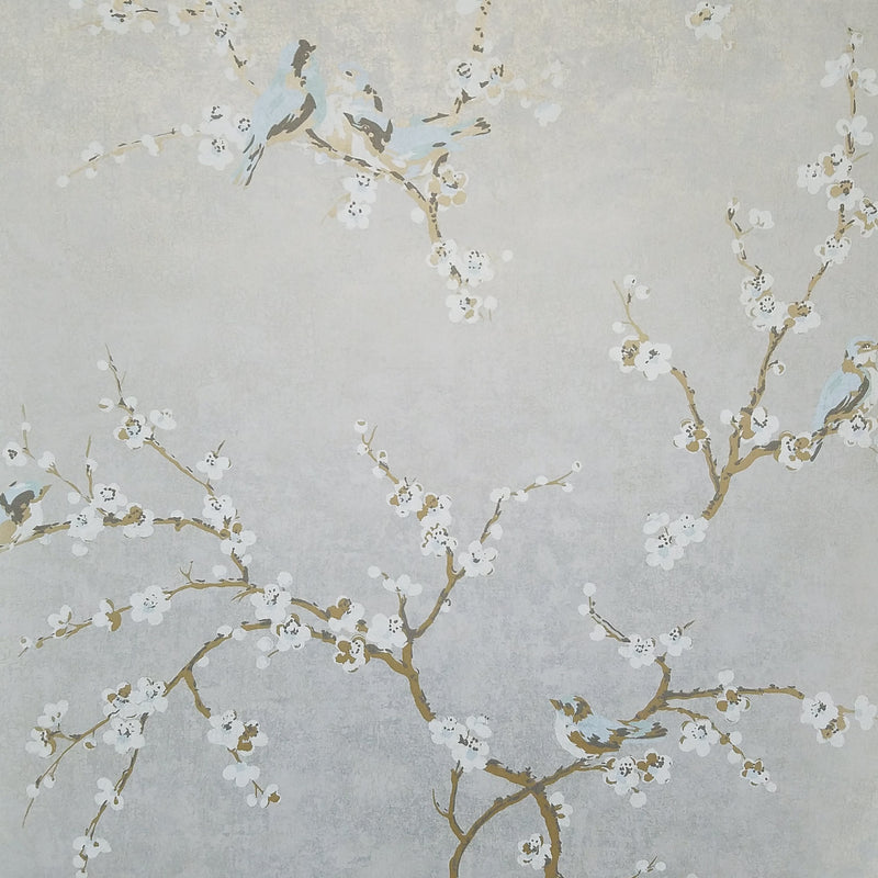 Birds and Blossoms on Silvery Gray Wallpaper