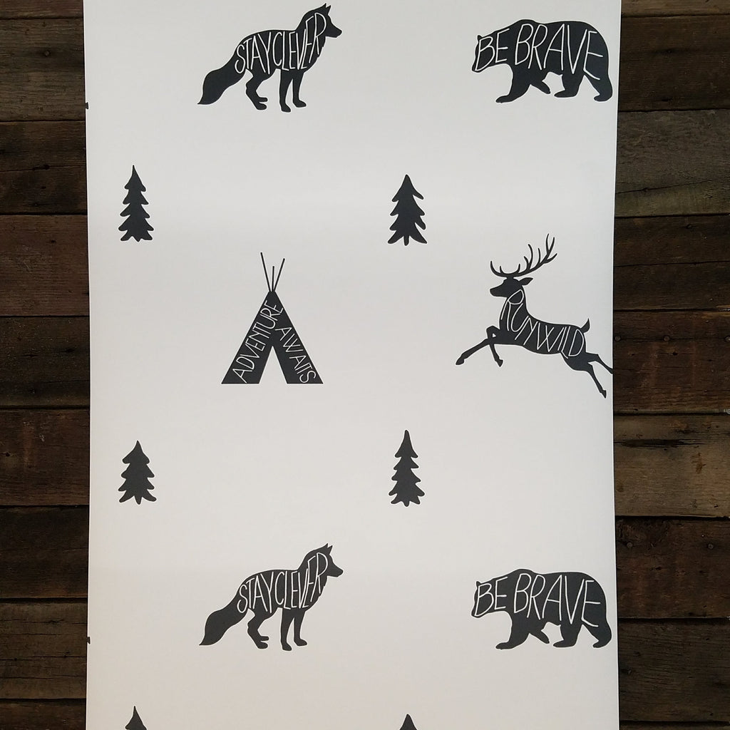 Black and White Run Wild Boho Animal Wallpaper